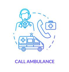 Ambulance team call concept icon vector