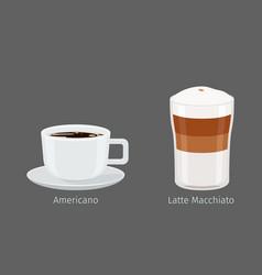 American and latte macchiato coffee vector