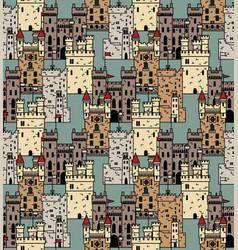 ancient castles seamless pattern abstract vector image