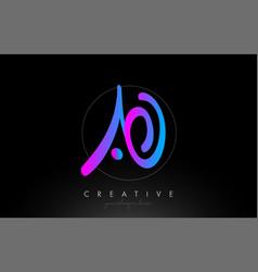 Ao artistic brush letter logo handwritten vector