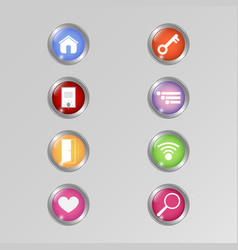 application icon set shiny button design for vector image