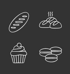 bakery chalk icons set vector image