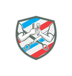 Barber Hand Comb Brush Scissors Shield Retro vector image