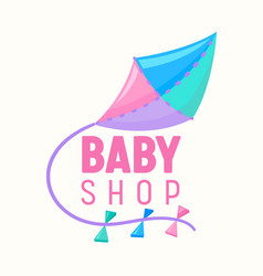bashop banner with flying kite pink blue vector image
