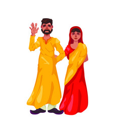 Bearded man in lungi and woman in sari stand on vector