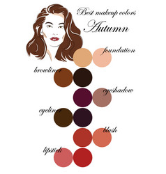 Best makeup colors for autumn type appearance vector