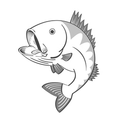 Black and white fish vector