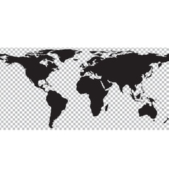 Black map of world on transparent background vector