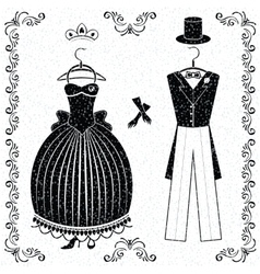 Black-white wedding outfits of bride and groom vector image