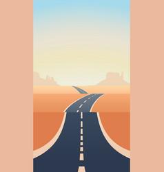 Blue asphalt long road through sand desert vector
