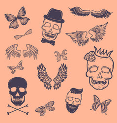 boys patches collection tattoo outline vector image