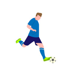 brave soccer player tries to kick the ball hard vector image