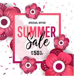 Bright summer sale banner poster in trendy design vector