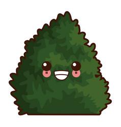 bush plant isolated cute kawaii cartoon vector image