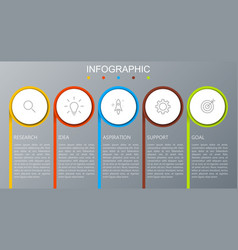 Business infographics presentation with 5 steps vector