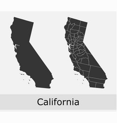 California map counties outline vector