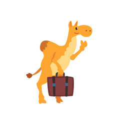 camel animal cartoon character traveling with vector image