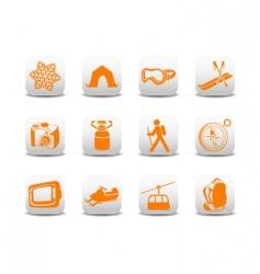 camping ski icons vector image