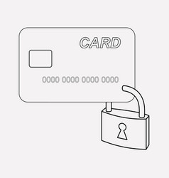 Card protection icon line element vector