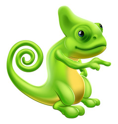 Chameleon mascot pointing vector