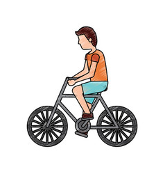 character young man riding bicycle side view vector image