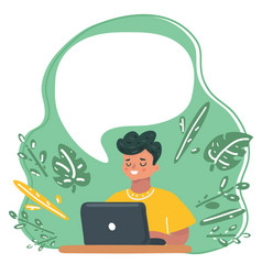 Child blogging concentrated boy with laptop vector