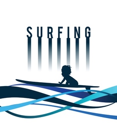 Child surfing icon in blue color vector