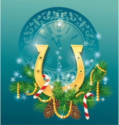 Christmas and new year background with golden hors vector