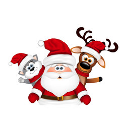Christmas card santa with reindeer and cat vector
