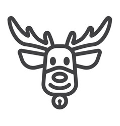 christmas deer line icon new year and christmas vector image