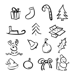 Christmas objects collection vector image