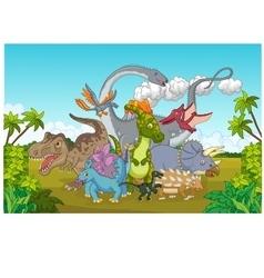 Collection dinosaur happy vector