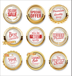 collection golden flat shields badges vector image