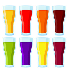 colorful cartoon juice glass set vector image