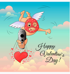 cupid in mask aims gun at frame valentines day vector image