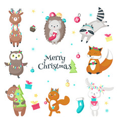 Cute funny christmas animals isolated vector