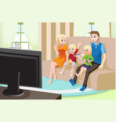 Family watching movies at home vector