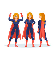 female superhero in different situations poses vector image vector image