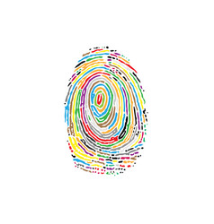 fingerprint colorful silhouette vector image