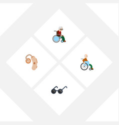 flat icon handicapped set of spectacles vector image vector image