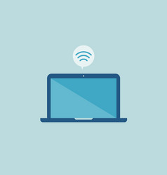 flat laptop design with internet wifi icon vector image