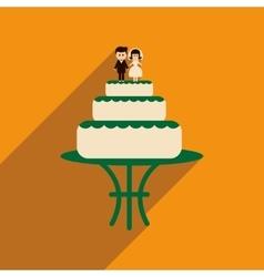 Flat web icon with long shadow wedding cake vector
