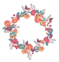 Floral wreath made wildflowers vector