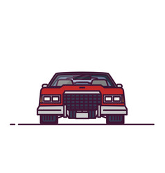 Front view retro 70s car vector