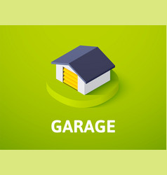 Garage isometric icon isolated on color vector