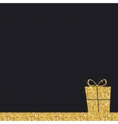 Gold Glitter Shiny Gift Box Background vector image