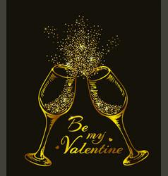 Golden glittering glasses of champagne vector