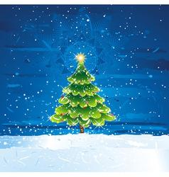Green christmas tree in dark night vector