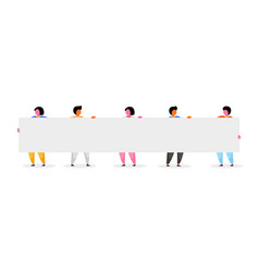 group happy people holding white placard with vector image