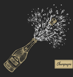 Hand drawing champagne bottle with splash vector